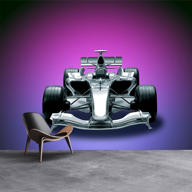 Formula Race Car Wall Mural Purple Wallpaper Boys Bedroom Photo Home