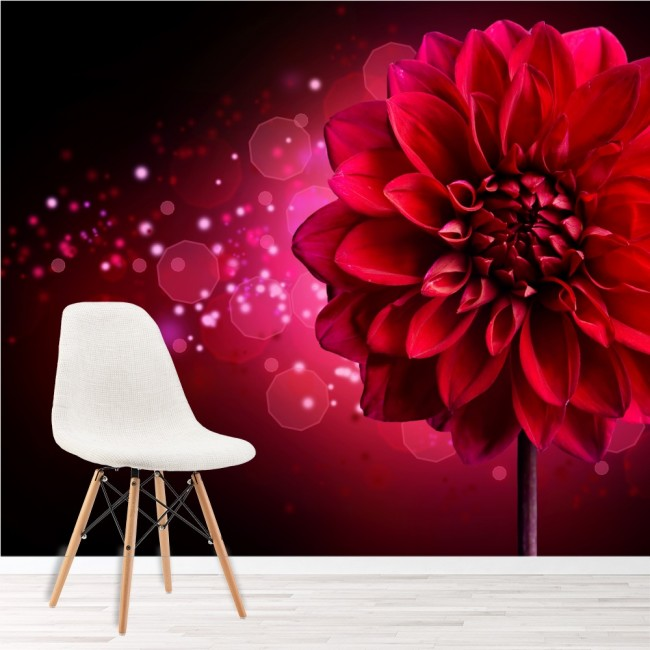 Dahlia Flower Wall Mural Red Pink Floral Wallpaper Girls Bedroom Photo Decor