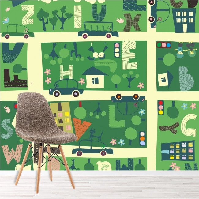 Map Wall Mural AZ Town Wallpaper Kids Bedroom Nursery Photo Home - Town map for kids