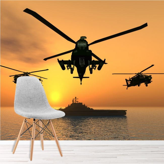 Apache Helicopters Wall Mural Warship Wallpaper Boys Bedroom Photo ...