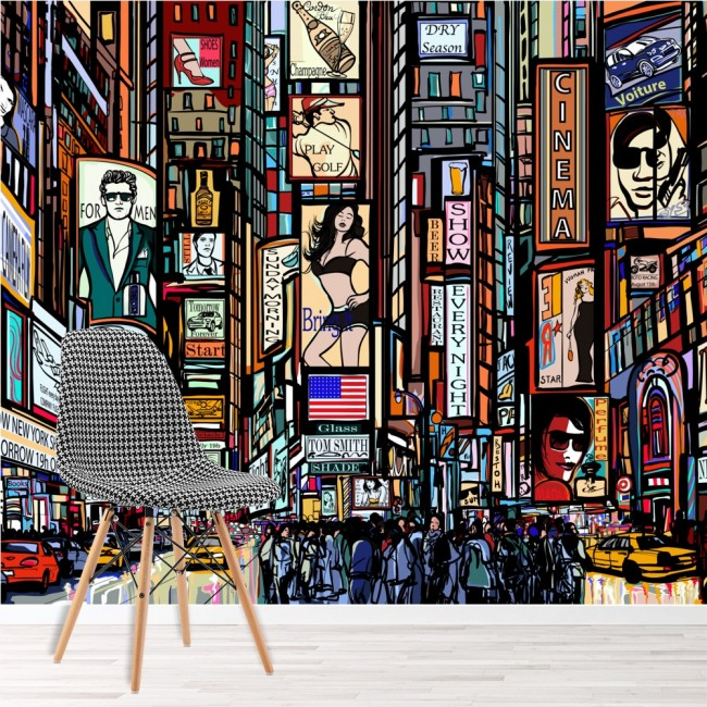New York Bedroom Wallpaper Uk Bedroom Paint Ideas Tumblr Bedroom Color Ideas Pictures Mezzanine Bedroom Design Ideas: New York Illustration Wall Mural Times Square Wallpaper