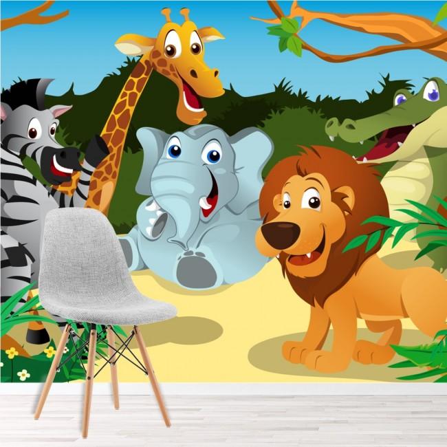 Safari Animals Wall Mural Jungle Wallpaper Kids Bedroom