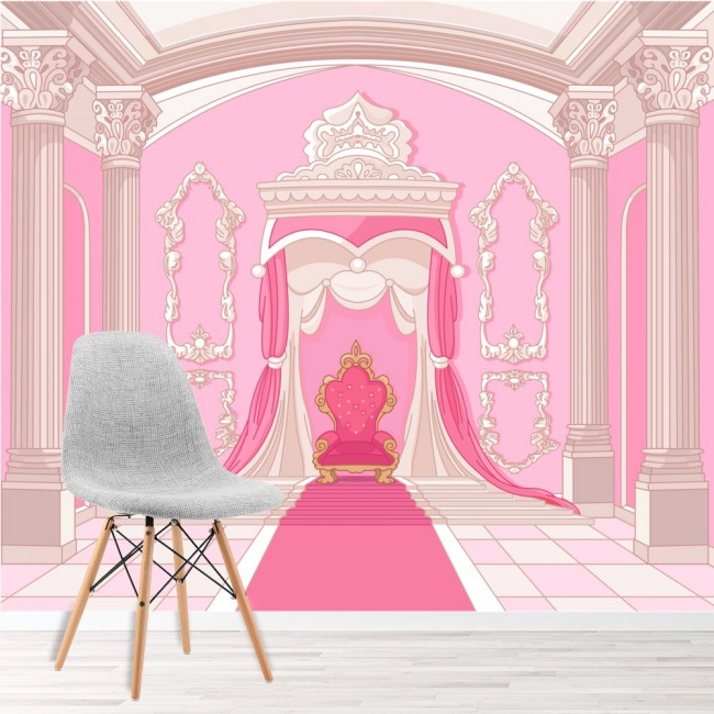 Princess throne wall mural pink fairytale wallpaper girls for Girls murals