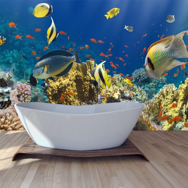 Under The Sea Wall Mural Tropical Fish Wallpaper Bathroom