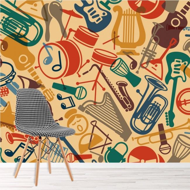 music pattern wall mural instruments wallpaper bedroom photo home