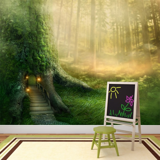 Magical Tree House Wall Mural Fantasy Forest Wallpaper Girls Bedroom Photo  Decor