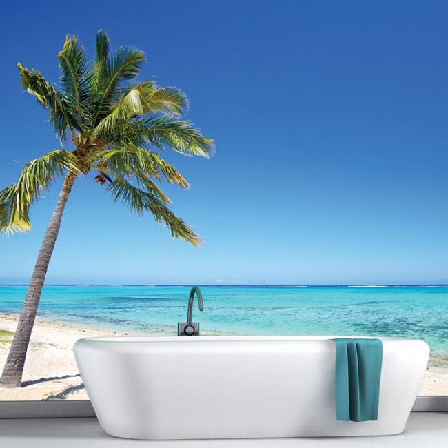 Beach scene wall mural tropical seascape wallpaper bedroom for Beach scene mural wallpaper