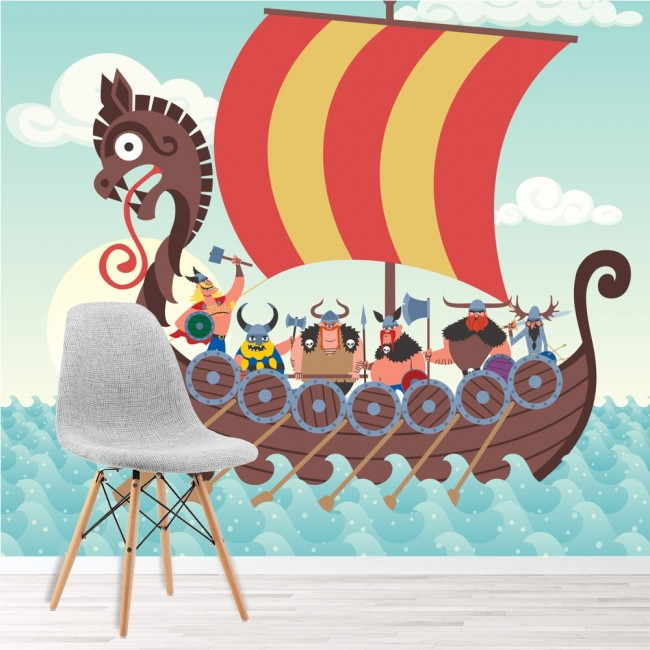 Viking ship wall mural pirate wallpaper boys bedroom photo for Boys mural wallpaper