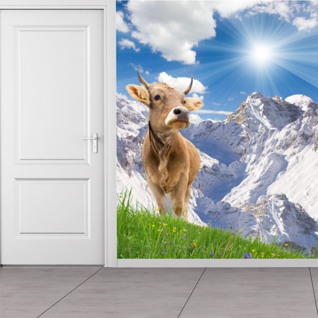 White Mountain Landscape Wall Mural Brown Cow Wallpaper Kitchen Photo Home  Decor