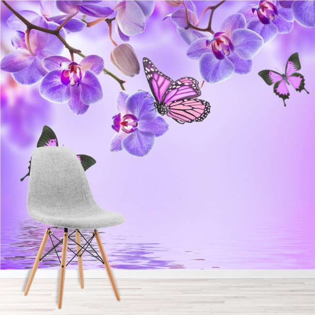 Purple flower wall mural floral butterfly wallpaper girls for Girls murals