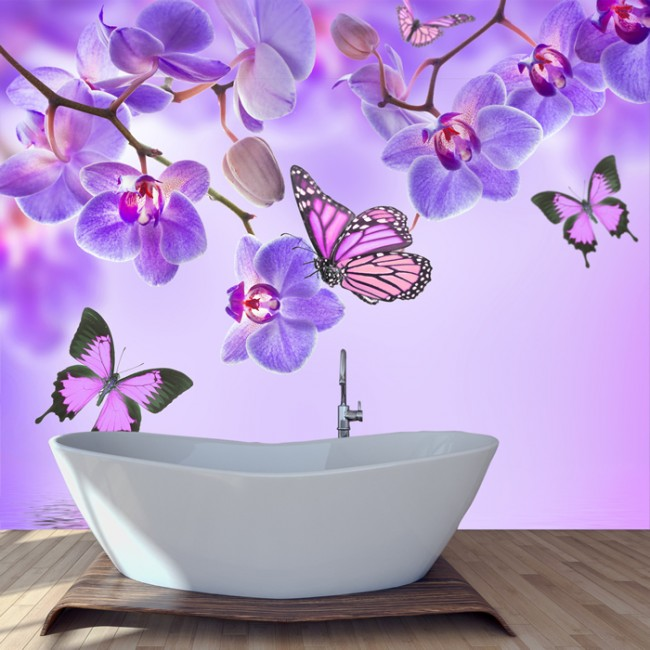 Purple flower wall mural floral butterfly wallpaper girls for Butterfly mural wallpaper