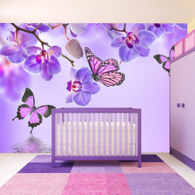 Purple Flower Wall Mural Floral Butterfly Wallpaper Girls