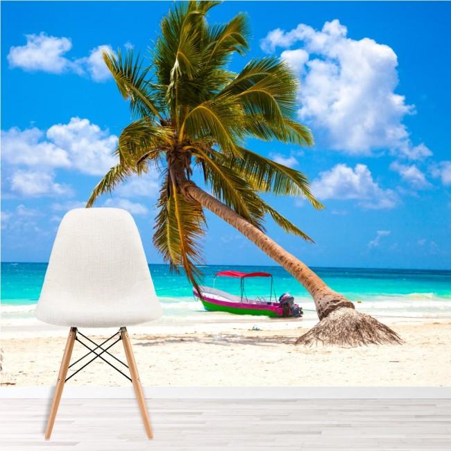 Palm Tree Wall Mural Tropical Beach Wallpaper Blue Ocean Photo Home