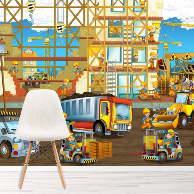 Construction site wall mural truck digger wallpaper boys for Boys mural wallpaper