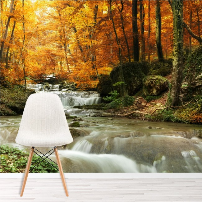 Waterfall autumn trees wall mural forest wallpaper living for Autumn forest mural