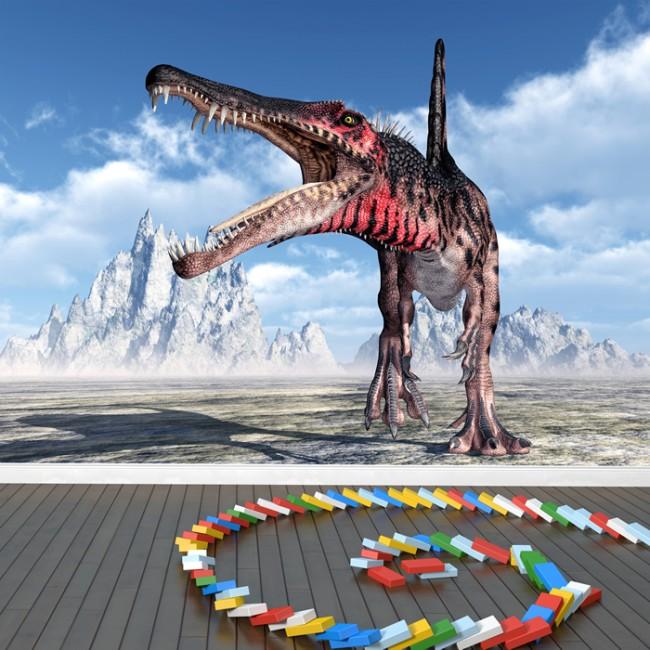 Spinosaurus roar wall mural dinosaur wallpaper kids for Dinosaur mural wallpaper
