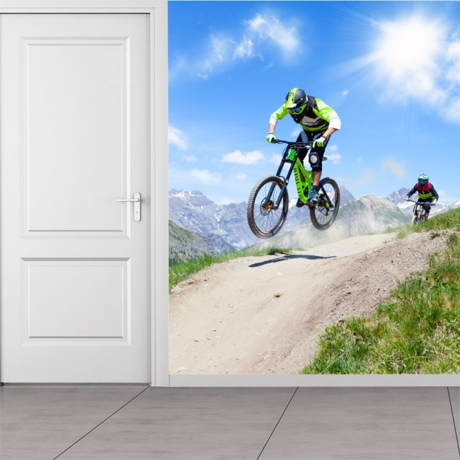 Bike Race Wall Mural Extreme Sports Wallpaper Boys Bedroom Photo Decor