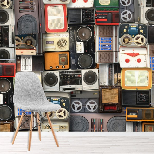 Retro Music Wall Mural Vintage Cassette Tapes Wallpaper Bedroom ...