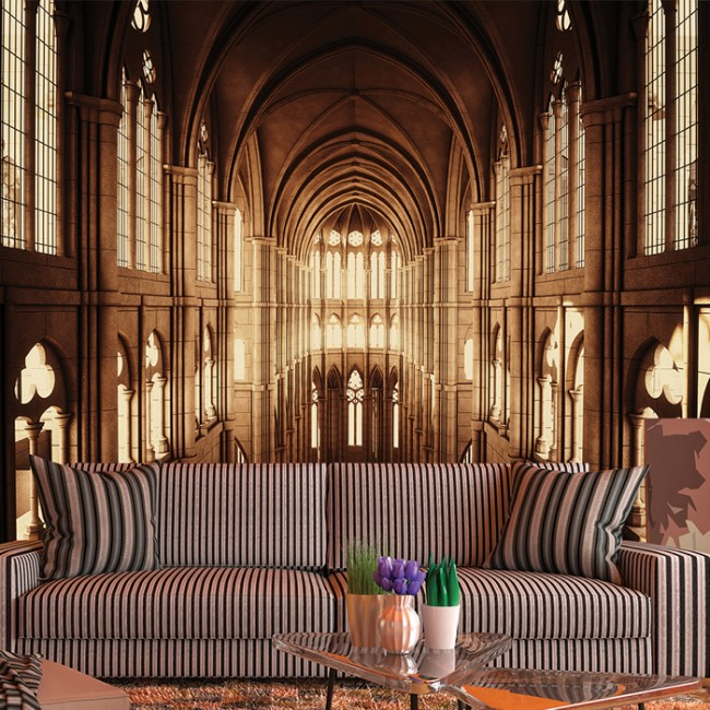 Church cathedral wall mural black white 3d wallpaper for Church wall mural