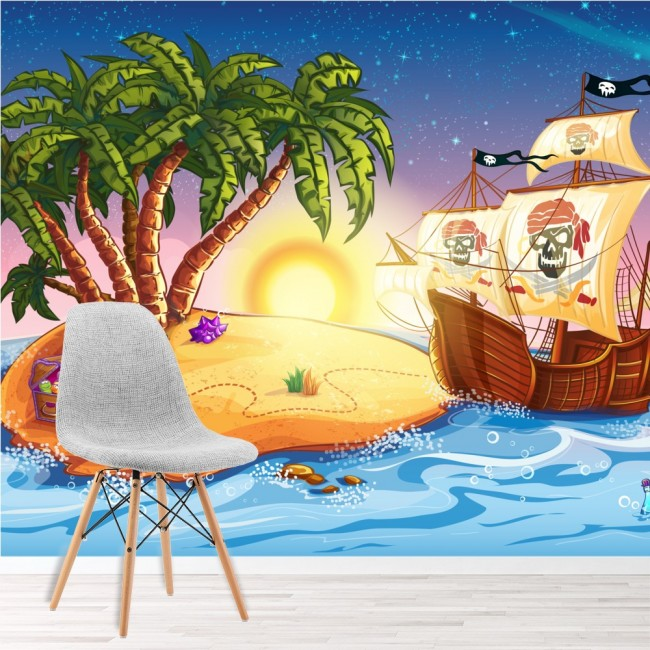Pirate Ship Wall Mural Treasure Island Wallpaper kids Bedroom Photo ...