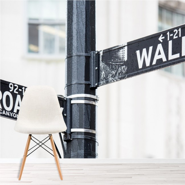 Broadway & Wall Street Sign Wall Mural New York Wallpaper