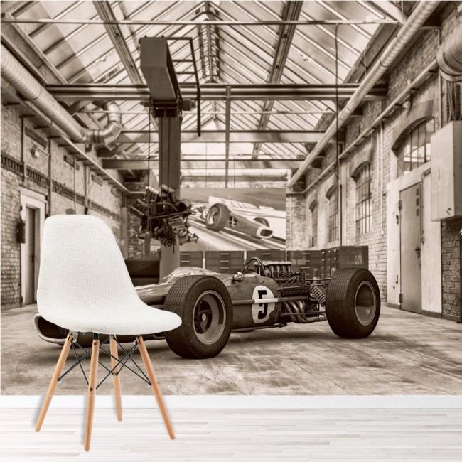 Vintage Formula Race Car Wall Mural Black White Wallpaper Sports