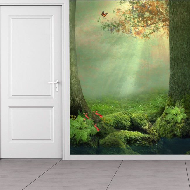 Enchanted Forest Wall Mural Butterfly Tree Wallpaper Girls Bedroom