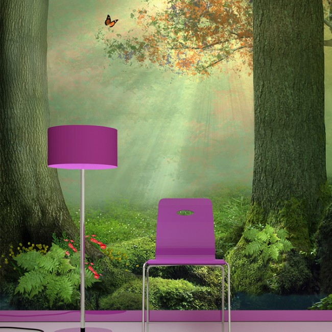 Enchanted forest wall mural butterfly tree wallpaper girls for Enchanted forest mural