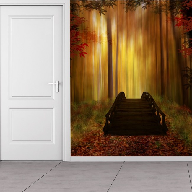 Autumn Forest Wall Mural Bridge Trees Wallpaper Bedroom Photo Home Decor