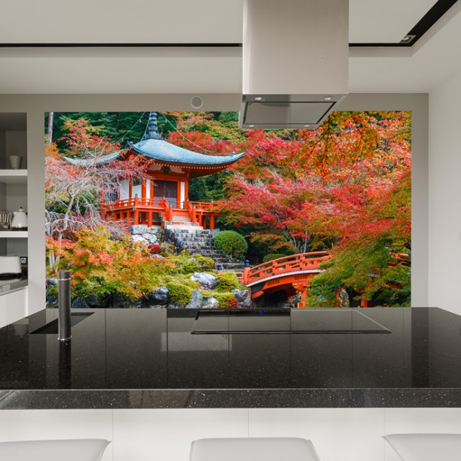 Ancient Japanese Temple Wall Mural Red Trees Wallpaper