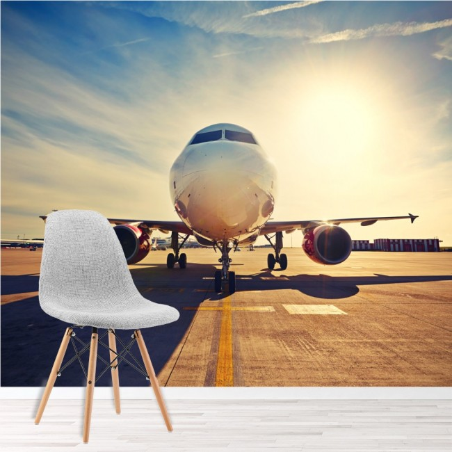 Airplane sunrise wall mural aeroplane wallpaper bedroom for Aeroplane wall mural