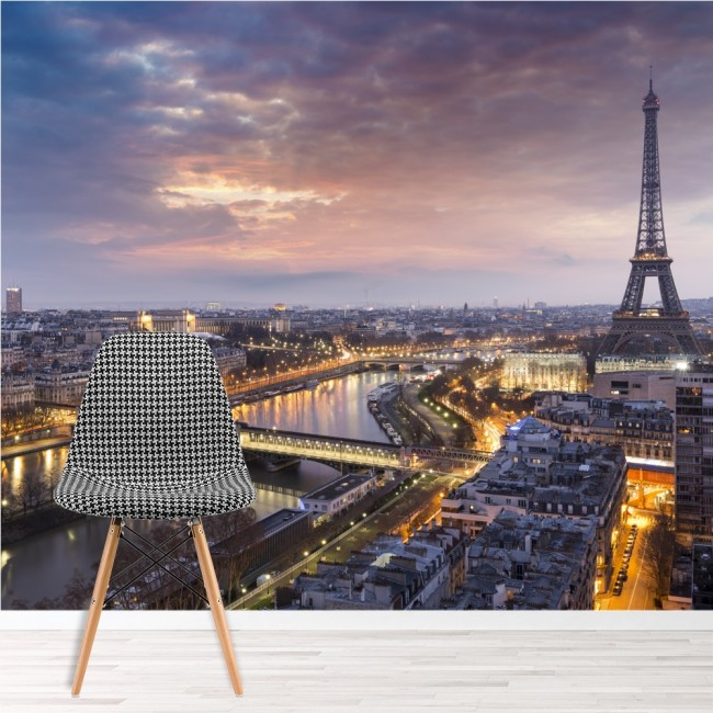 Eiffel tower sunset wall mural city skyline paris for Eiffel tower wall mural black and white