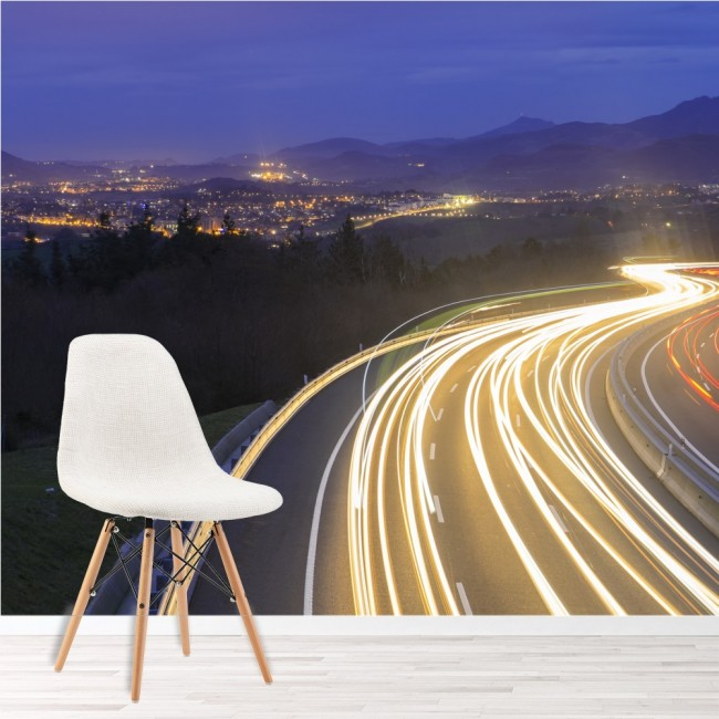 Urban Lanscape Wall Mural Road Transport Wallpaper Office ...