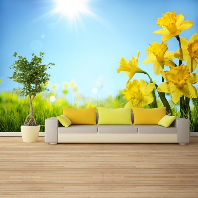 Yellow daffodil flower wall mural green field wallpaper for Yellow wallpaper home decor