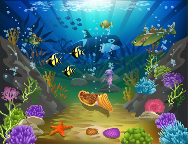 cartoon under the sea wallpaper wall mural