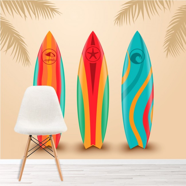 Surf Design Wall Mural Surfboard Wallpaper Sports Bedroom Photo Home Decor
