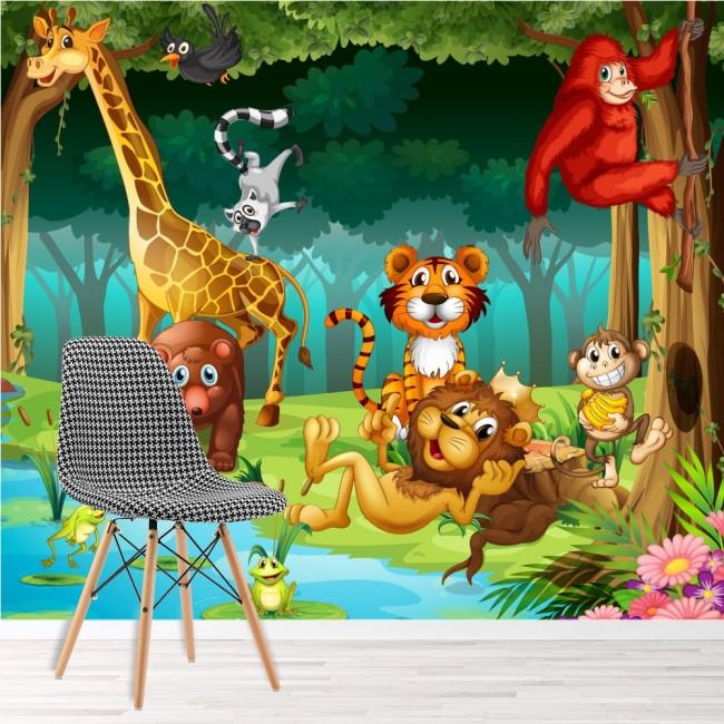 Jungle animals wall mural lion giraffe wallpaper kids for Animal mural wallpaper