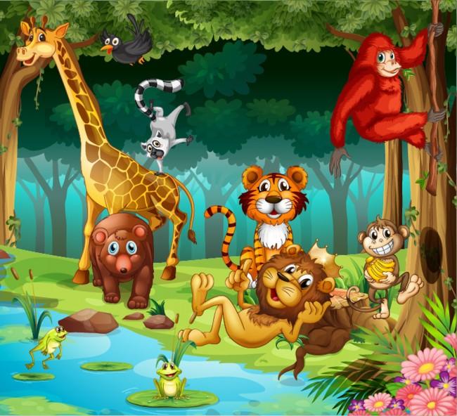Jungle animals wall mural lion giraffe wallpaper kids bedroom photo home decor - Babyzimmer jungle ...