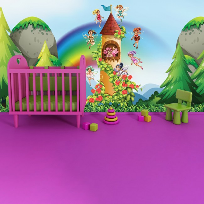 Fairy castle wall mural fairytale wallpaper girls bedroom for Fairy castle wall mural