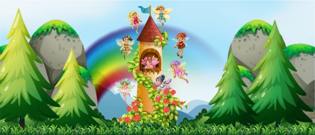 Fairy castle wall mural fairytale wallpaper girls bedroom for Fairy castle wall mural
