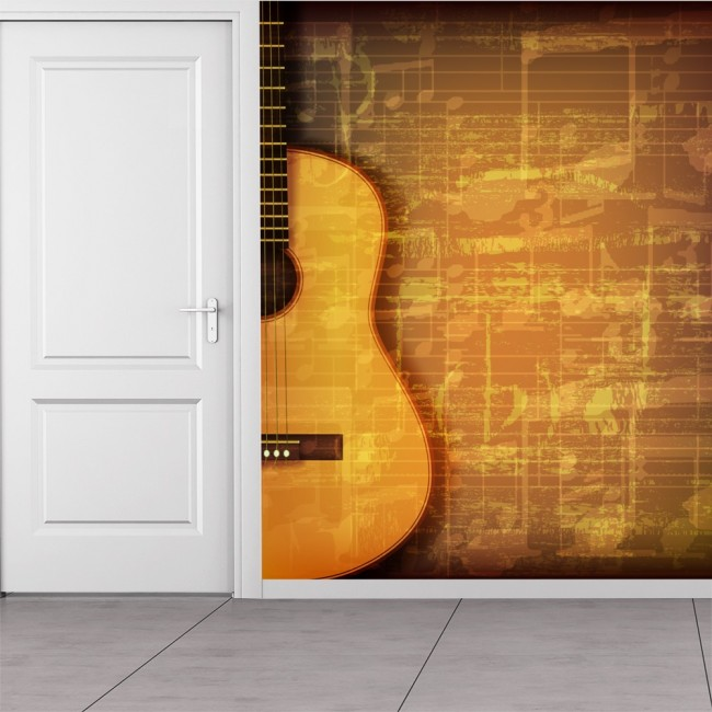 Guitar & Music Sheet Wall Mural Vintage Music Wallpaper
