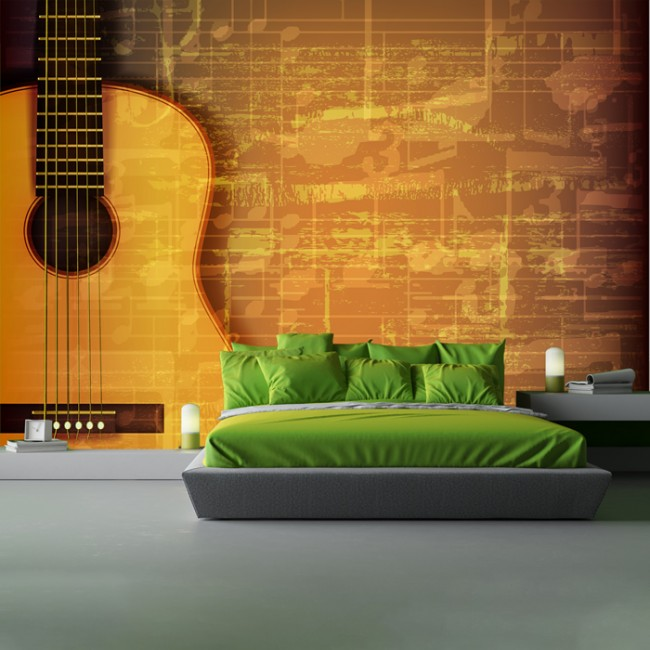Guitar music sheet wall mural vintage music wallpaper bedroom photo home decor - Guitar decorations for bedroom ...