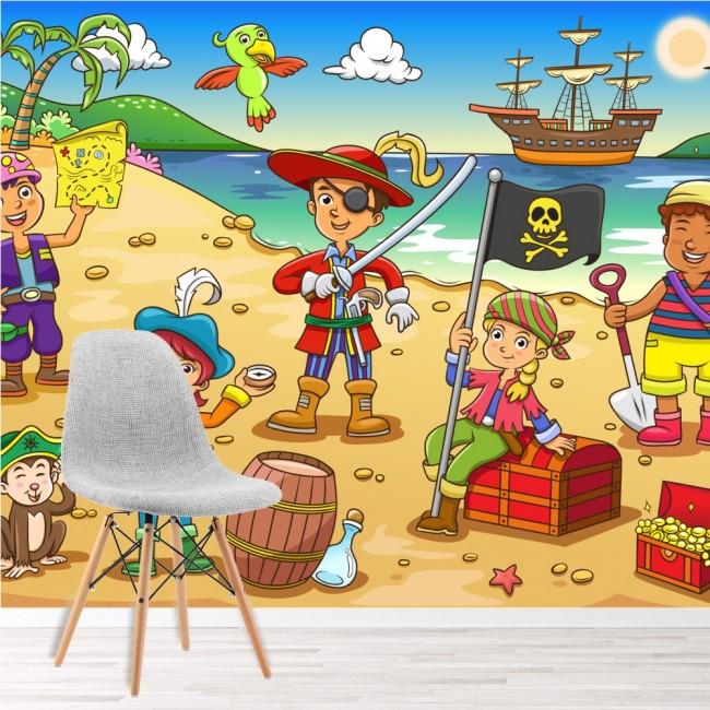 Pirate Scene Wall Mural Pirate Ship Wallpaper kids Bedroom Photo ...
