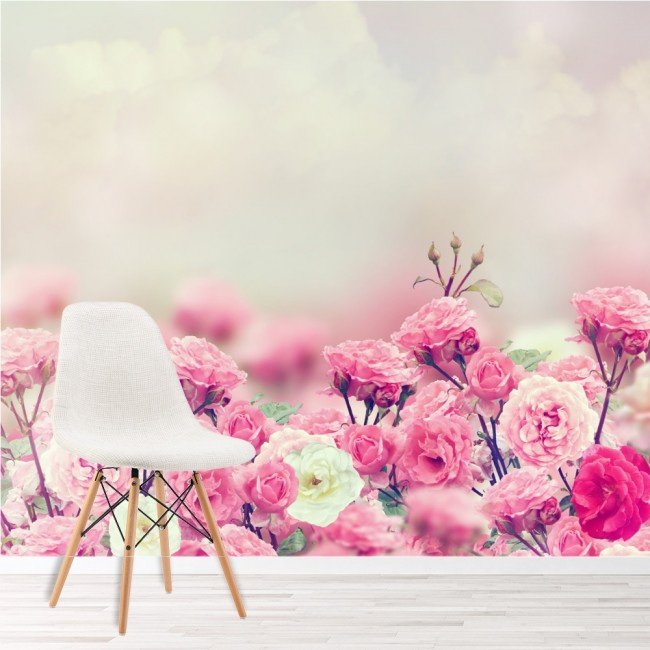 Pink White Rose Flowers Wall Mural Floral Wallpaper Girls Bedroom Photo  Decor