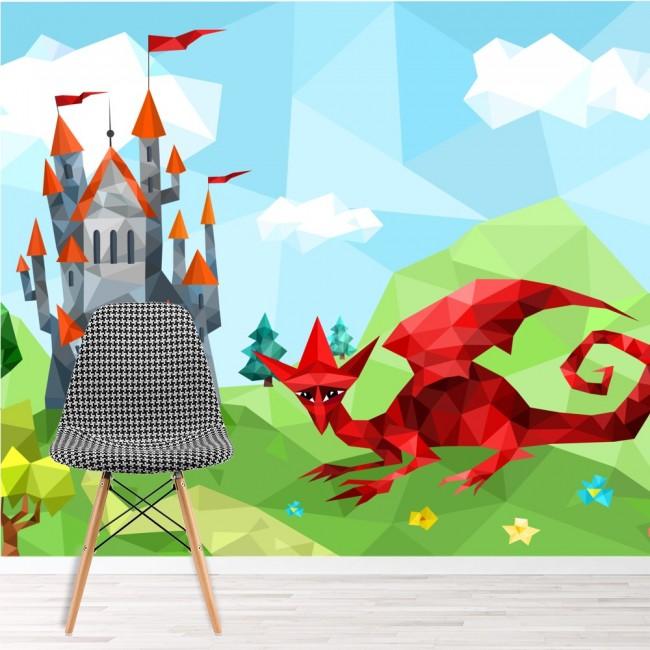 Red dragon wall mural castle fantasy wallpaper boys for Dragon mural wallpaper