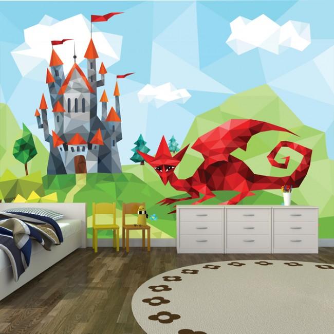 Red dragon wall mural castle fantasy wallpaper boys for Castle wall mural wallpaper