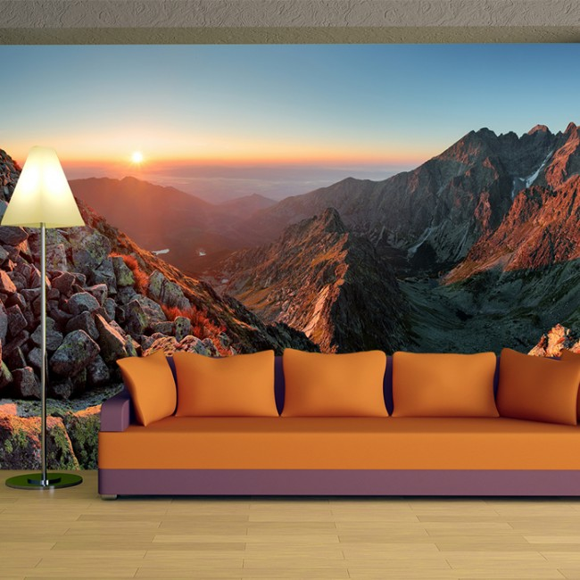 Red Rocky Mountains Wall Mural Sunset Landscape Wallpaper Bedroom