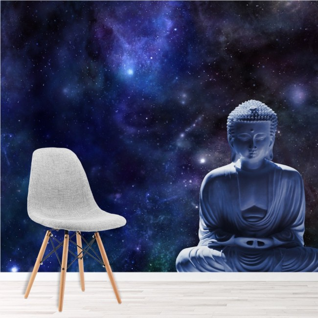 Buddha statue stars wall mural religion wallpaper for Buddha wall mural