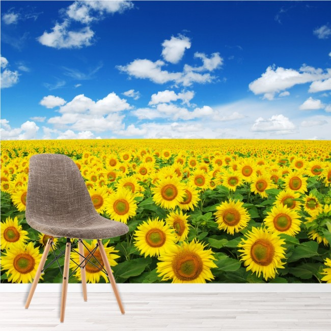Yellow sunflowers wall mural floral landscape wallpaper for Yellow wallpaper home decor