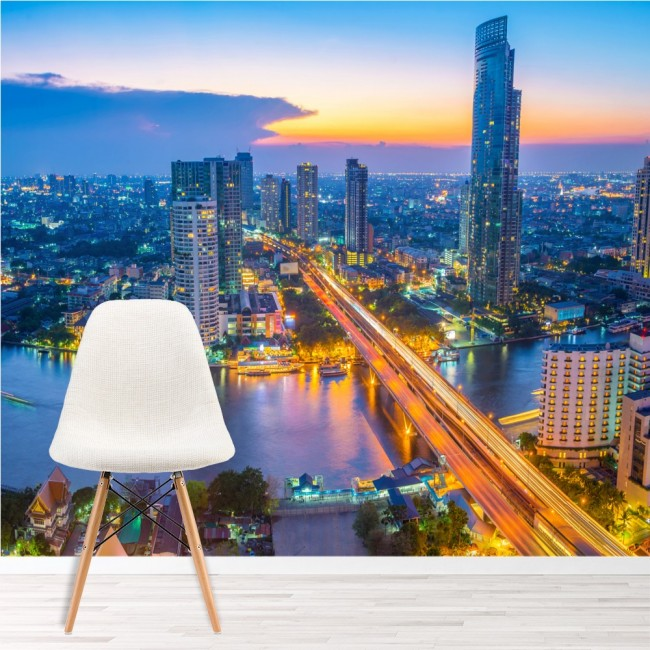 Bangkok panoramic wall mural city skyline wallpaper for City scape wall mural